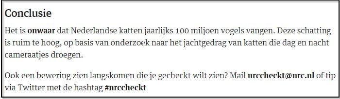 conclusie-NRC-checkt_Nederlandse-katten-doden-jaarlijks-100-miljoen-vogels-kattenherplaatsing